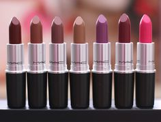 MAC The Matte Lip Collection Lipsticks from the left in Studded Kiss, Persistence, Whirl, Naturally Transformed, Men Love Mystery, D for Danger and Pink Pigeon