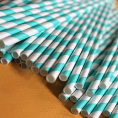 Blue Striped Paper Straws ($7)