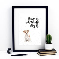 Your place to buy and sell all things handmade Watercolor Print, Dog Breeds, Quote, Ink, Lettering, Wall, Dogs, Collection, Quotation