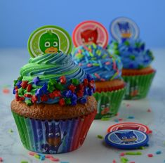 Wednesdays call for cupcakes and these are EXTRA sweet! Cupcake Décor Kits are now available Pj Mask Cupcakes, Cupcake Cakes, Pj Masks Cakes, Pjmask Party, Party Cakes, Party Ideas, Pj Masks Birthday Cake, Birthday Cupcakes, 4th Birthday Parties