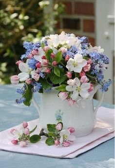 Spring Floral Arrangement in pink blue and white