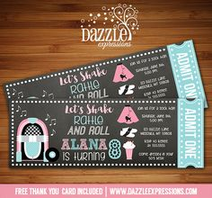 Printable 50's Sock Hop Chalkboard Ticket Birthday Invitation | Fifties Party Event | Dance | Fundraiser | Kids Birthday Party | School Party | Poodle Skirt | Jukebox | Diner | FREE thank you card included | Printable Matching Party Package Decorations Available! Banner | Signs | Labels | Favor Tags | Water Bottle Labels and more! www.dazzleexpressions.com