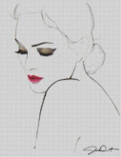 0 point de croix visage silhouette - cross stitch lady's face