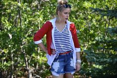 http://Www.lovethebeautiful.com   Red White and cutt off denim