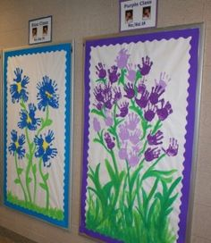 The hallway displays art created by each preschool class.