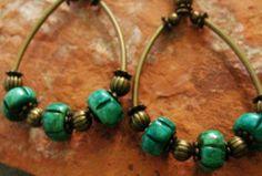 African Earrings , Boho earrings, Ceramic Bead Earrings, Ethnic Hoop Earrings, Tribal Brass earrings by IsleofSkyeJewelry on Etsy https://www.etsy.com/listing/229461099/african-earrings-boho-earrings-ceramic