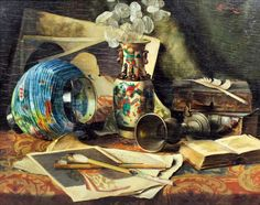 Caroline Therese Friedrich (German, 1828 - 1914): Still life with Chinese vase, lantern, chalice, painting and open book Women Painters