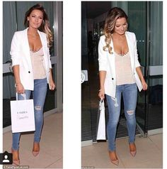 A little bit of cleavage is good, just don't go overboard. We love this white blazer for a summer look. Bawnk.com