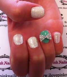White and Mint Bow Nails. So cute.  Reminds me of my homie Samantha..=)