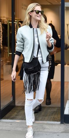 Poppy Delevingne goes casual in Rag & Bone bomber jacket in London #style #fashion #celebritystyle
