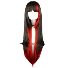 Black Hair With Red Highlights, Bright Red Hair, Red Hair Long Layers, Black Hair Red Tips, Black And Red Makeup, Red Hair With Bangs, Black Hair Dye, Split Dyed Hair, Dyed Red Hair