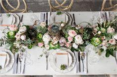 rose and big green table settings The Big Fake Wedding | The Rice Mill Charleston SC Wedding - Anchor & Veil Photography | Charlotte, NC Wedding Photographers