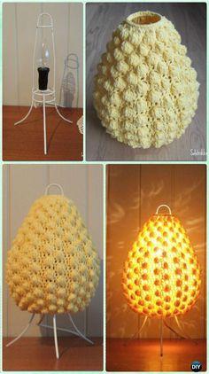 Crochet Bobble Stitch Lampshade Free Pattern - Crochet Lamp Shade Free Patterns