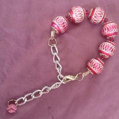 Pink metal beads, bracelet