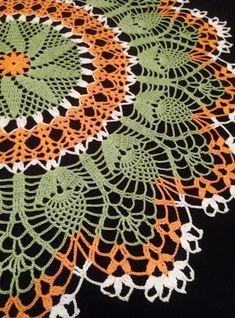 Large crochet doily—Large doily—Home decor—olive orange crochet tablecloth-white doily-Mother's Day—Handmade tablecloth Crochet Tablecloth Pattern, Crochet Doily Patterns, Thread Crochet, Crochet Motif, Hand Crochet, Crochet Sunflower, Pineapple Crochet, Crochet Flowers, Crochet Decoration