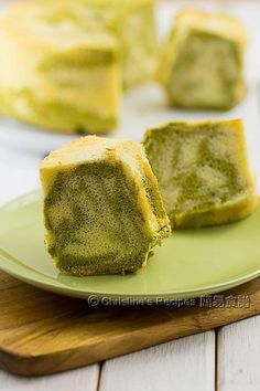 This matcha marble chiffon cake is very soft and fluffy as a cloud with a pleasant aroma of green tea.