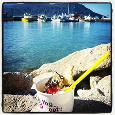 "@annsanner's photo: ""#yogeat #icecream #youghurt #Karpathos #Pigadia #vanilla #strawberry #banana #flavor #harbour #dessert"""