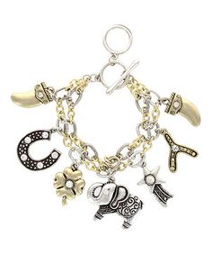 This Silver & Gold Layered Charm Bracelet by Sparkling Sage is perfect! #zulilyfinds