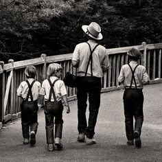 Amish father and sons