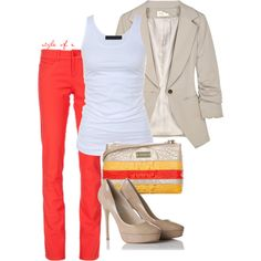 """Pop of Brightness"" by styleofe on Polyvore. I love the bright colored pants."