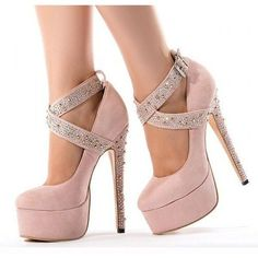 Women's Style Pumps Chole Pink Almond Toe Platform Stiletto Heels Crystal Ankle Straps Stiletto Heels Pumps Fall Fashion 2017 Fall Wedding Dresses Shoes for Anniversary Heel Pumps, High Heels Stilettos, Ankle Strap Heels, Ankle Straps, Cheap High Heels, Stiletto Shoes, Platform High Heels, Fashion Heels, Flat Shoes