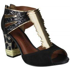Sandália Tanara N5287 - Preto (Padova/Ouro/Salto Linces) - Calçados Online Sandálias, Sapatos e Botas Femininas | Katy.com.br