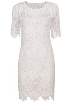 White Short Sleeve Lace Bodycon Dress 18.67