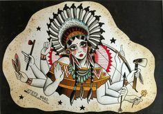 Indian Woman Tattoo Flash | KYSA #ink #design #tattoo