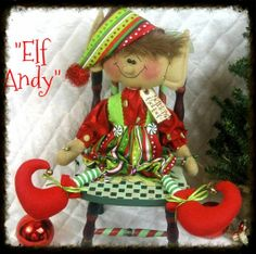 Primitive Christmas ELF ANDYSanta's by GingerCreekCrossing on Etsy, $39.95