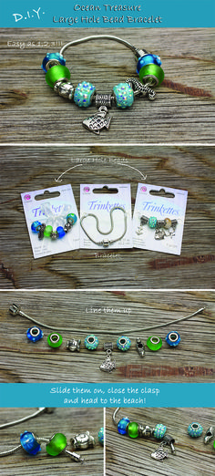 DIY Ocean Treasure Bracelet - easy to create large hole bead jewelry. Add beach style to your fashion line up this summer.