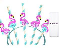 10 x Coco&Bo - Pink Flamingo Pool Party Straws - Cocktail Accessories - Tropical Tiki Hawaiian Luau Beach Party Decorations