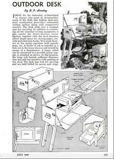 Field desk plans Field desk plans My first year teaching I was dying to see other teachers plan books but most of them were either blank or didn t seem suitable for o Campaign Desk, Campaign Furniture, Studio Organization, Camping Organization, Folding Furniture, Diy Furniture, Woodworking Plans, Woodworking Projects, Camping Box