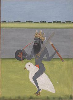 Shiva-Bhairava riding an owl. India, 18th century. Smith-Lesouëf (oriental) 243, f. 10