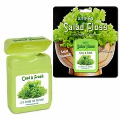 Salad Flavored Floss  - We're all coaxed to eat more leafy greens.  This   dental floss might just be cheating.  Your teeth and guns  will think you've turned over a new leaf, as you floss with this   decidedly greens-flavored floss.