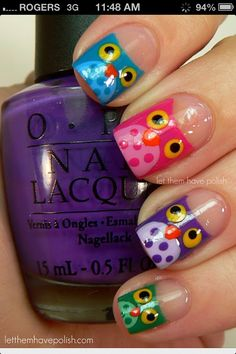 Colourful Owl nail design