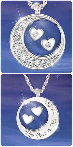 """Sterling silver floating heart diamond necklace...the back is engraved, """"I love you to the moon and back""""."""