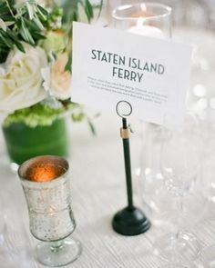 """Instead of table numbers (as no one likes to be on the last """"table 10"""" you could have named tables, such as places that mean something to you, etc.  Check out 14 Inspiring Wedding Table Name Ideas 