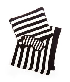 three-piece cashmere black & whites stripe travel set with blanket, pillow and eye mask