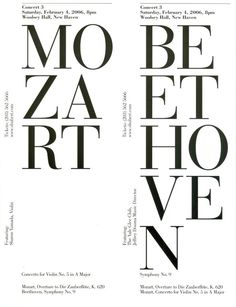 Yale Symphony Orchestra, 2006, Designer unknown Typography Layout, Typography Poster, Graphic Design Typography, Cd Design, Logo Design, Classical Music Concerts, Poster Photography, Music Logo, Music Images