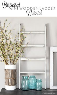 Distressed mini wooden ladder! Great DIY project that is great for any decor and it's a unique piece that your guests will adore! Beautiful decoration for your mantle and it's an easy project you'll love!