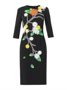 Floral appliqué cady dress | Dolce & Gabbana | MATCHESFASHION.COM