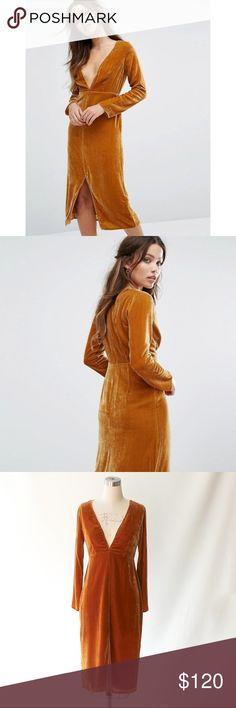 For Love & Lemons Low Cut Velvet Midi Dress For Love & Lemons golden tan soft velvet midi dress has a deep V neckline and a front slit. Long sleeves. Hidden back zip. Unlined.  Fabric: Velvet. 70% rayon/30% silk. NWT and in perfect condition.  Size Medium For Love And Lemons Dresses Midi