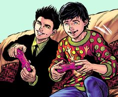 "redherartemis: ""Damian Wayne and Jon Kent in DC Rebirth Holiday Special "" - Visit to grab an amazing super hero shirt now on sale! Superman Family, Batman And Superman, Damian Wayne, Jon Kent, Jonathan Kent, Pop Art, Dc Rebirth, Superhero Memes, Arte Dc Comics"