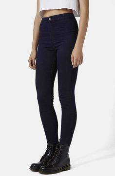 Topshop Moto 'Joni' High Rise Skinny Jeans (Navy Blue) available at #Nordstrom