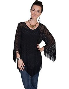 Scully Womens Honey Creek Sheer Dot Fringe Blouse Black Medium * See this great product.