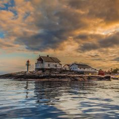 Stangholmen Lighthouse is located on a small island east of Risør in Aust-Agder county, Norway ~ Tore Heggelund / Lighthouse Keeper, White City, Water Tower, Small Island, Light Photography, Small Towns, Norway, Around The Worlds, Lighthouses