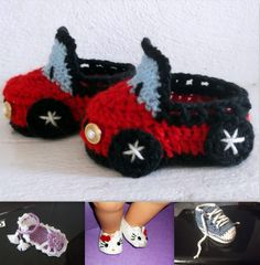Car Baby Booties CROCHET PATTERN Hello Kitty by PatternStudio1, $2.99