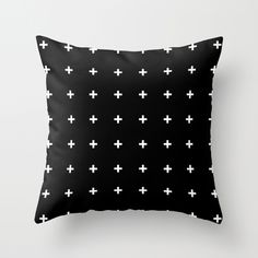 White Cross on Black // White Plus on Black Throw Pillow