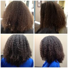 Before and after of Ouidad deep treatment, haircut and style. Done by Jennifer, styled with curl quencher styling gel.