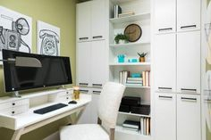 The efficient home office includes a desk area with all-in-one curved PC, built-in bookcase and a tech closet that allows all of the systems in the home to be organized, monitored and repaired in one location. Office Space Design, Home Office Space, Home Office Decor, Office Ideas, Office Designs, Office Spaces, Built In Desk, Built In Bookcase, Bookcases